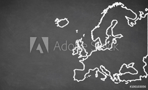 Picture of  Europe map drawn on chalkboard