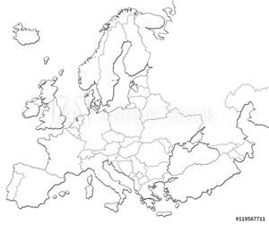 Picture of Blank map of Europe isolated on white background.
