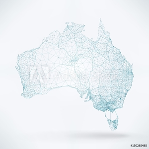 Picture of Abstract Telecommunication Network Map - Australia