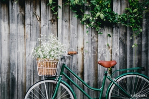 Picture of Bicycle against wooden fence with flowers in basket