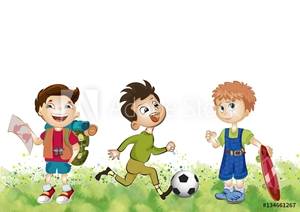Picture of Active boys. Illustration. Background.