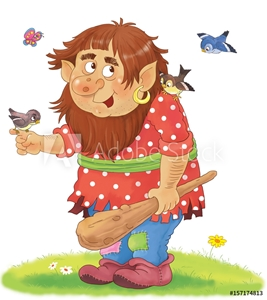 Picture of A cute troll. Fairy tale. Coloring book. Coloring page. Illustration for children.