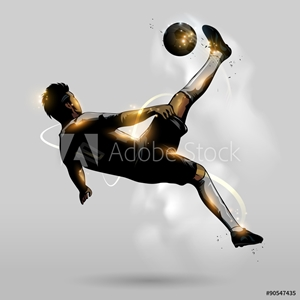 Picture of abstract soccer overhead kick