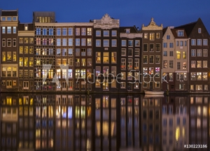 Picture of Amsterdam, night time on the Damrak canal, Holland, Netherlands